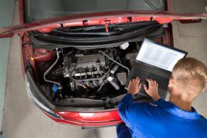Mechanic using diagnostics